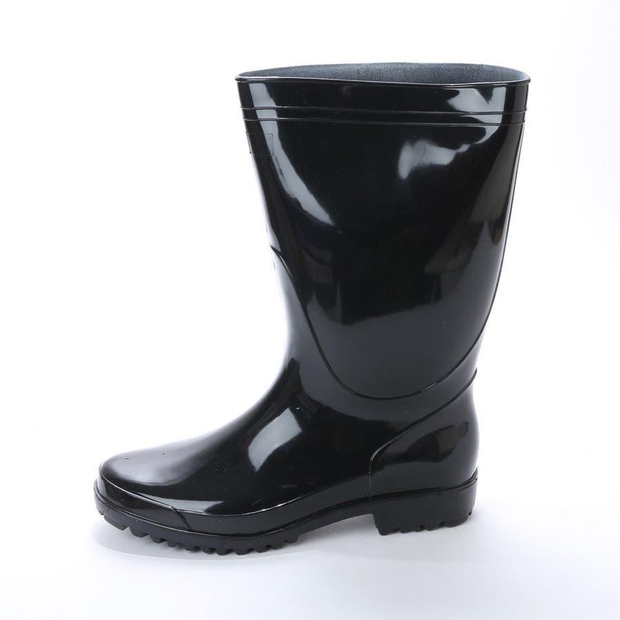 作業用 黒 長靴 PVC軽半長靴 メンズ 紳士 農作業 ロング ロングレインブーツ ラバーブーツ ラバー ロングブーツ ブラックkp_16049 3