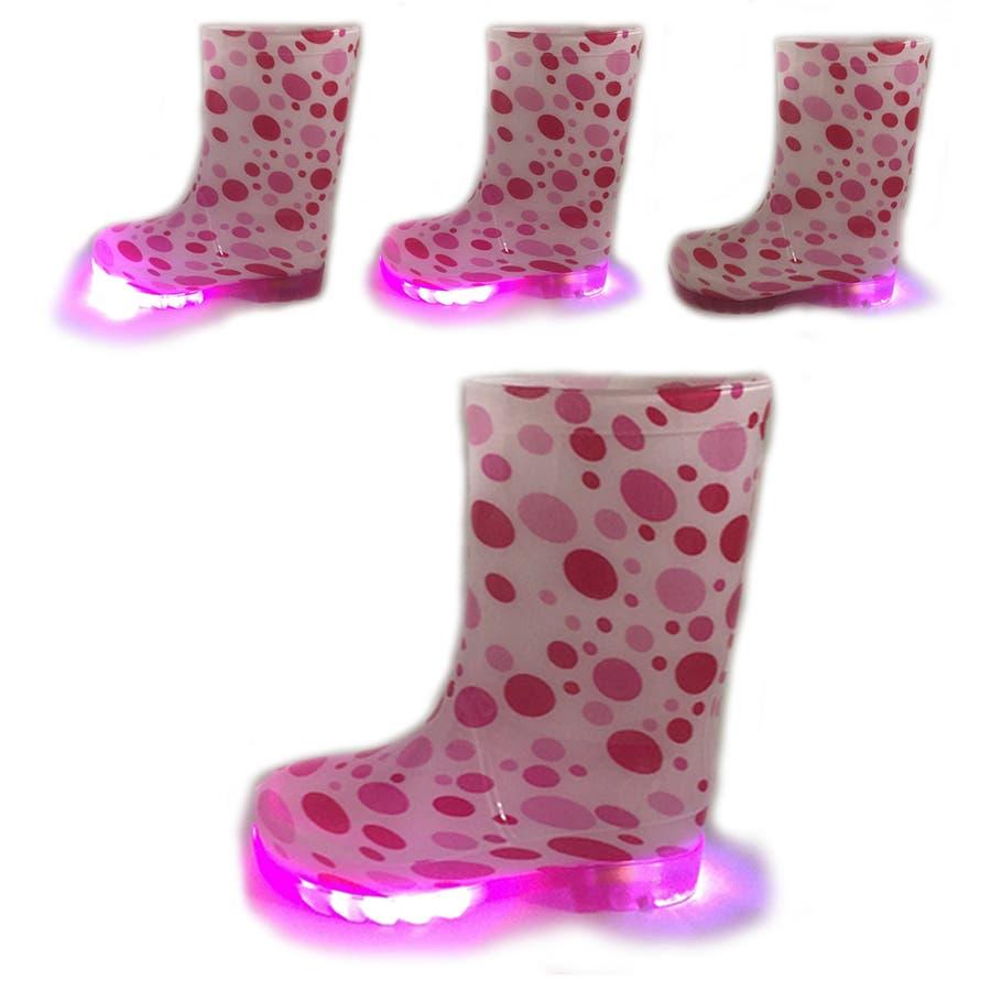 歩くたびに光る LED内蔵ソール キッズレインブーツ Lighting Rain Boots 長靴・kp_18004 7