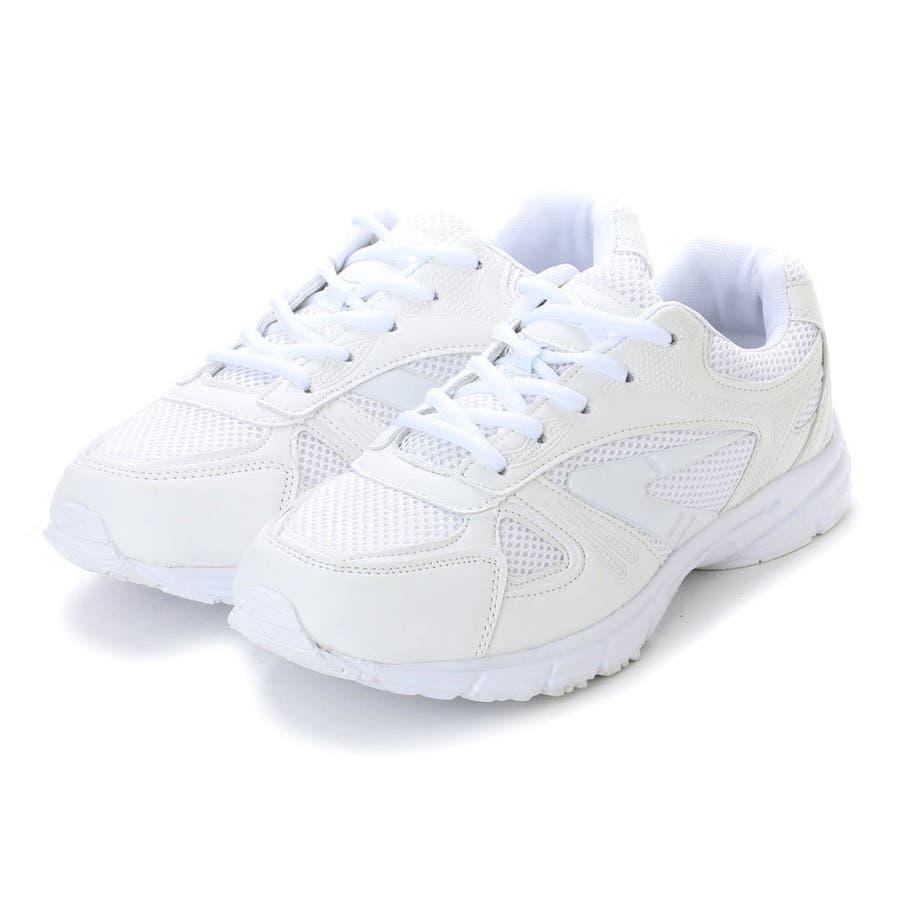 アースマーチ EARTH MARCH シンプルスニーカー 白い運動靴 メッシュ素材・em_16249