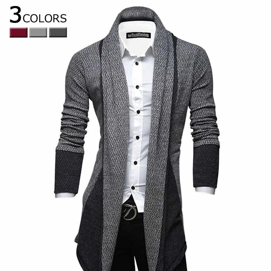 どんな服にも合わせやすいので重宝します メンズファッション通販カーディガン カーデガン ロング丈 メンズ ラフ 羽織り 大きいサイズ 2L 3L  y05-s1318 軍用