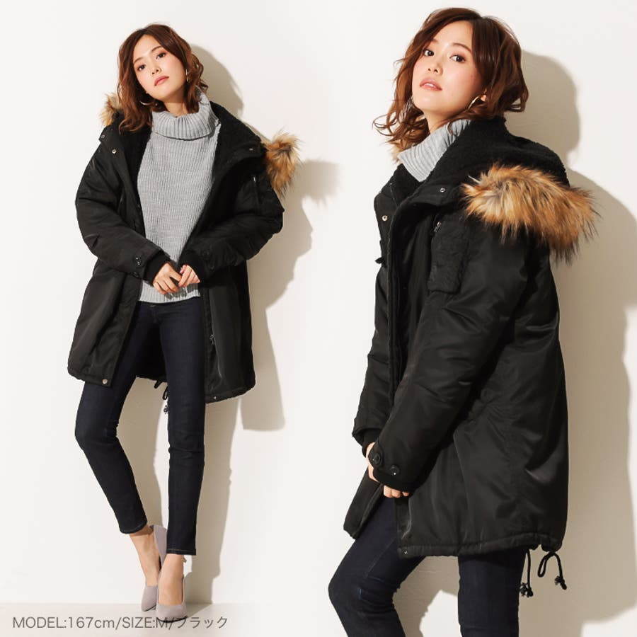 ●ファー襟付き中綿モッズコート コート レディース ロング 裏ボア