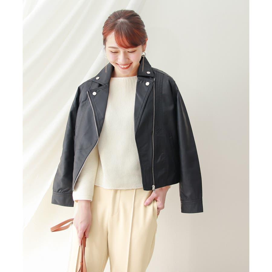 ●合皮ライダースジャケット M/Lサイズ【レディース】【アウター】 7