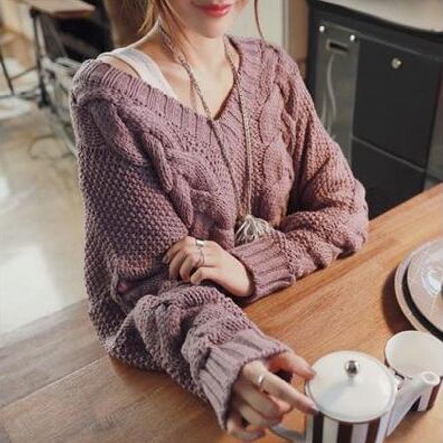 Vネックセーター/トップス/アクリル/レディースファッション通販/大きいサイズ【2017春物・新作】デコルテ強調/かわいい/萌え袖仕様 1