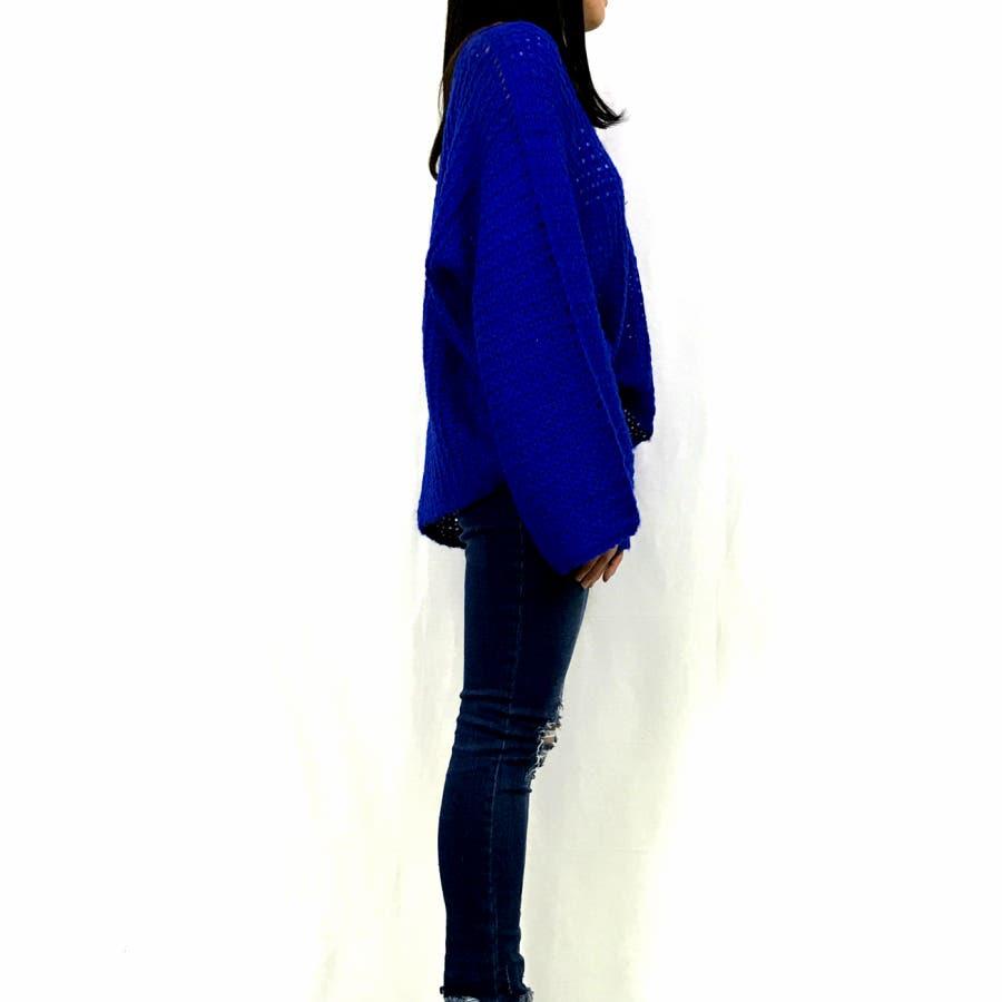 Vネック ゆるニット☆カラーニット セーター 長袖 大きめ ゆったり オーバーサイズ トップス セーター ざっくり ニット レディース大きいサイズ シンプル フレアースリーブ 定番ニット 秋冬 トップス 10