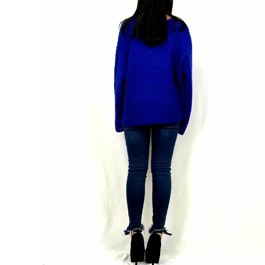 Vネック ゆるニット☆カラーニット セーター 長袖 大きめ ゆったり オーバーサイズ トップス セーター ざっくり ニット レディース大きいサイズ シンプル フレアースリーブ 定番ニット 秋冬 トップス 9