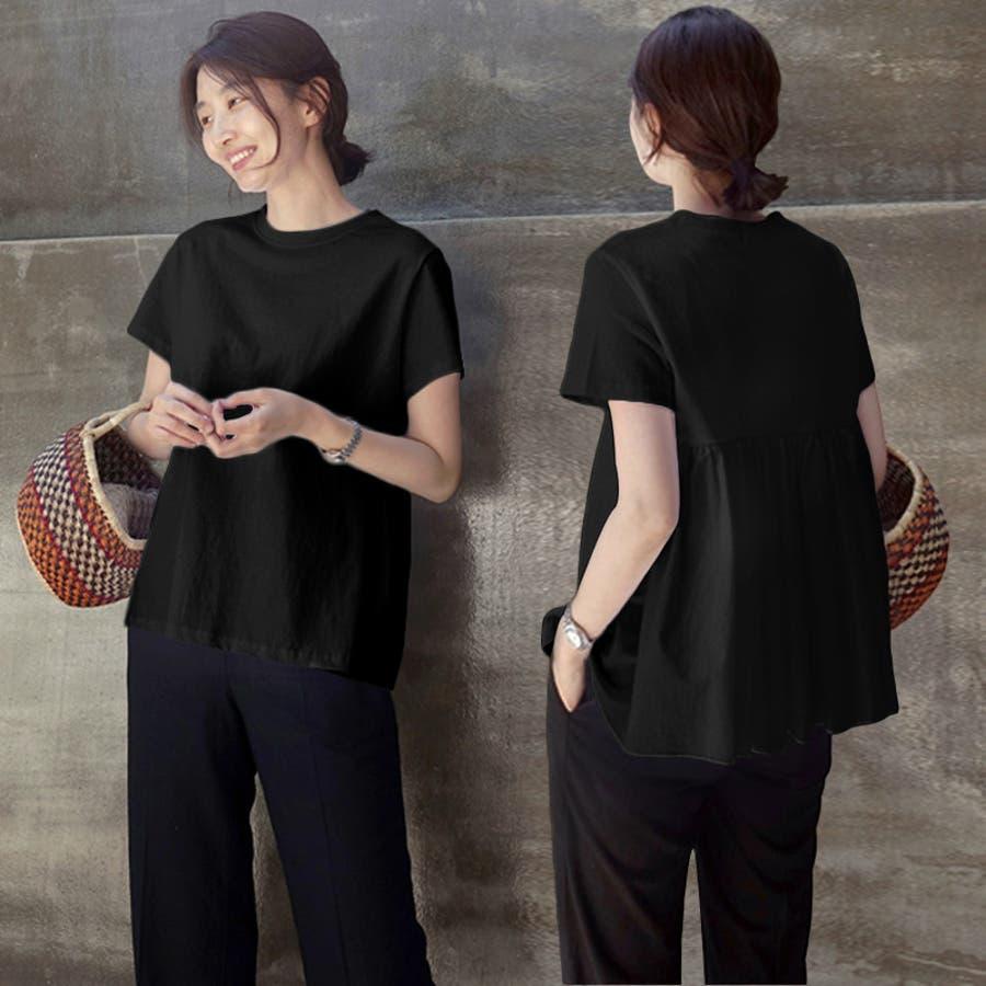Tシャツ トップス レディース 半袖 ゆったり 大きいサイズ 2020春夏新作 シャレ バックプリーツ切替 体型カバー シンプル 3