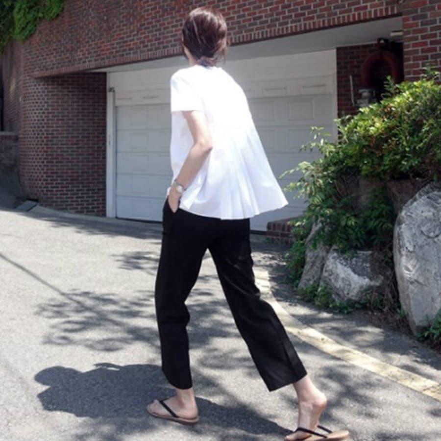 Tシャツ トップス レディース 半袖 ゆったり 大きいサイズ 2020春夏新作 シャレ バックプリーツ切替 体型カバー シンプル 5
