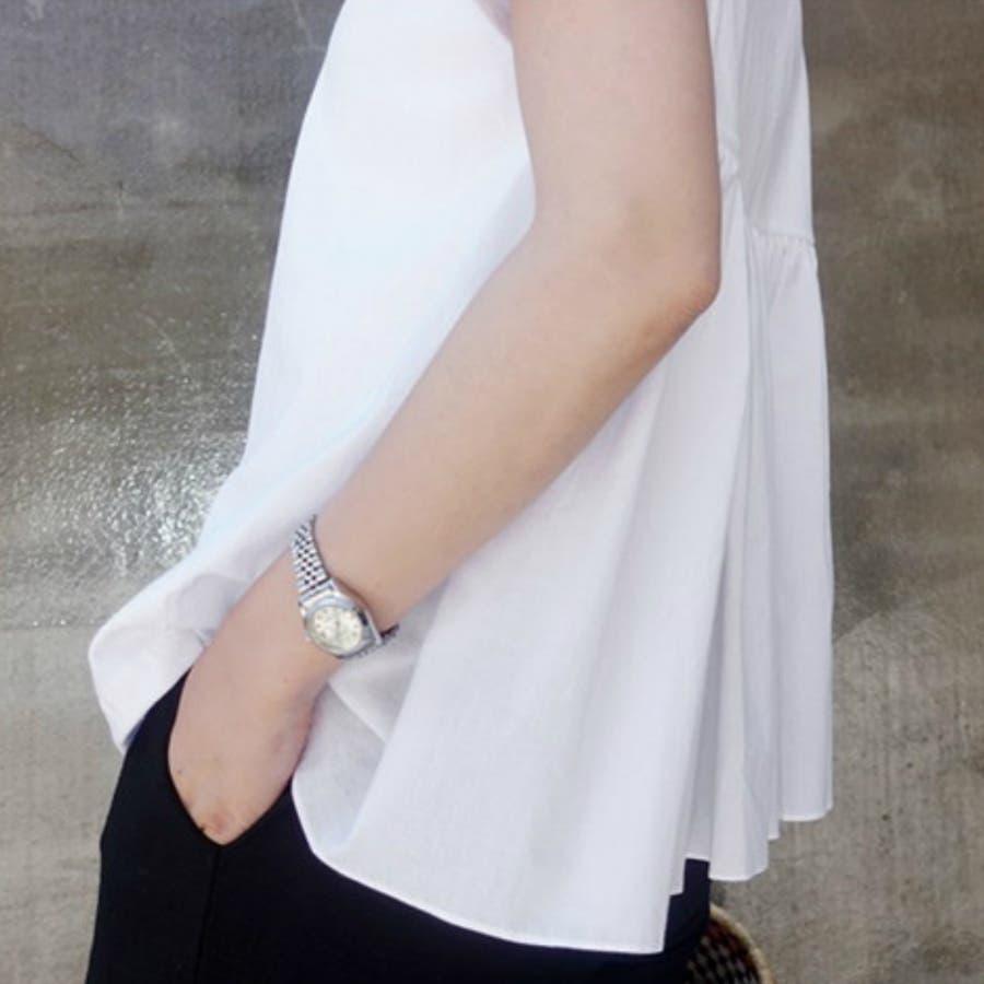 Tシャツ トップス レディース 半袖 ゆったり 大きいサイズ 2020春夏新作 シャレ バックプリーツ切替 体型カバー シンプル 4