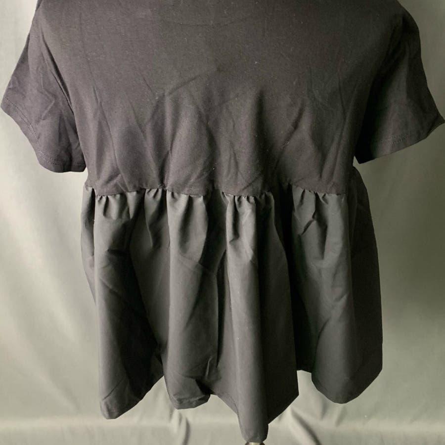 Tシャツ トップス レディース 半袖 ゆったり 大きいサイズ 2020春夏新作 シャレ バックプリーツ切替 体型カバー シンプル 9