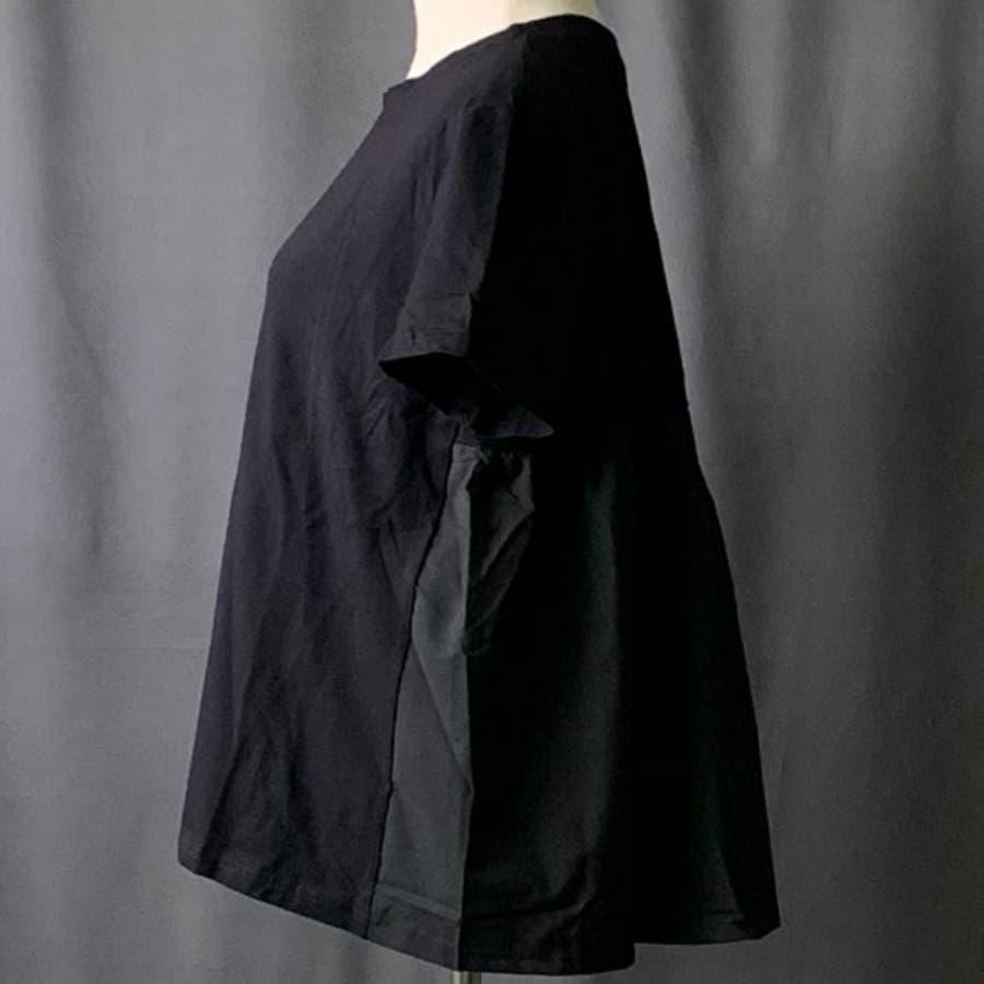 Tシャツ トップス レディース 半袖 ゆったり 大きいサイズ 2020春夏新作 シャレ バックプリーツ切替 体型カバー シンプル 8