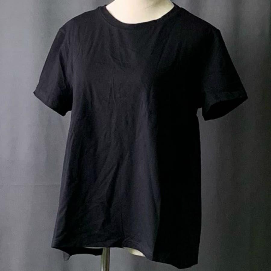Tシャツ トップス レディース 半袖 ゆったり 大きいサイズ 2020春夏新作 シャレ バックプリーツ切替 体型カバー シンプル 7