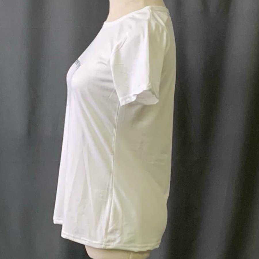 Tシャツ トップス ロゴT カットソー 白シャツ レディース 半袖 ゆったり 大きいサイズ 2019 春夏新作 体型カバー おしゃれ 3