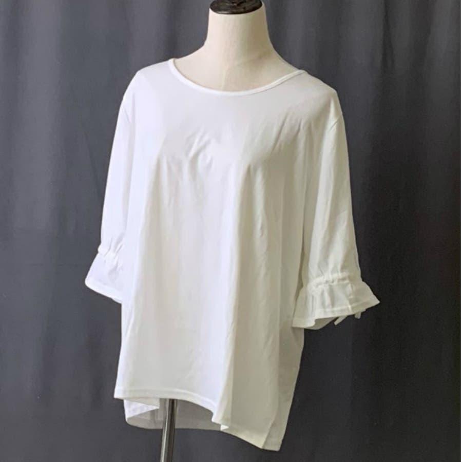 Tシャツ トップス カットソー 白シャツ デザイン袖 半袖 五分袖 レディース ゆったり 大きいサイズ 2019春夏新作二の腕体型カバー 2