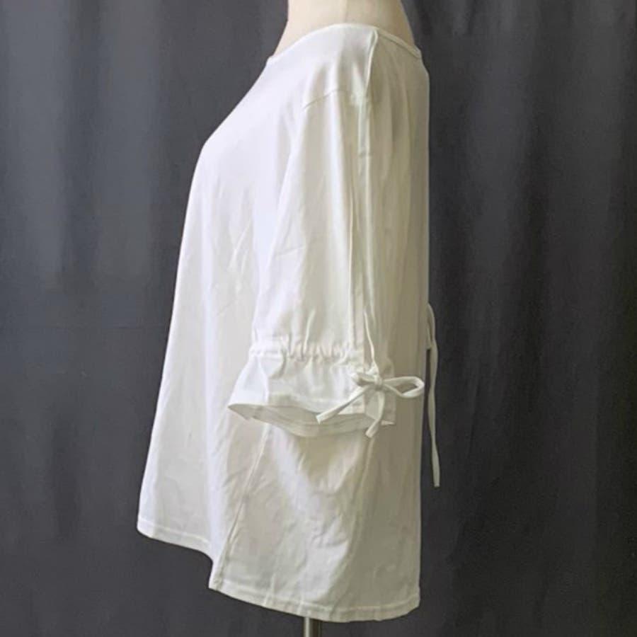 Tシャツ トップス カットソー 白シャツ デザイン袖 半袖 五分袖 レディース ゆったり 大きいサイズ 2019春夏新作二の腕体型カバー 3