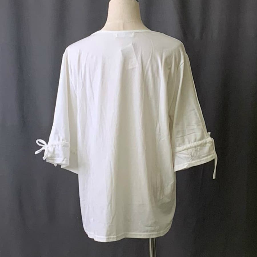 Tシャツ トップス カットソー 白シャツ デザイン袖 半袖 五分袖 レディース ゆったり 大きいサイズ 2019春夏新作二の腕体型カバー 4
