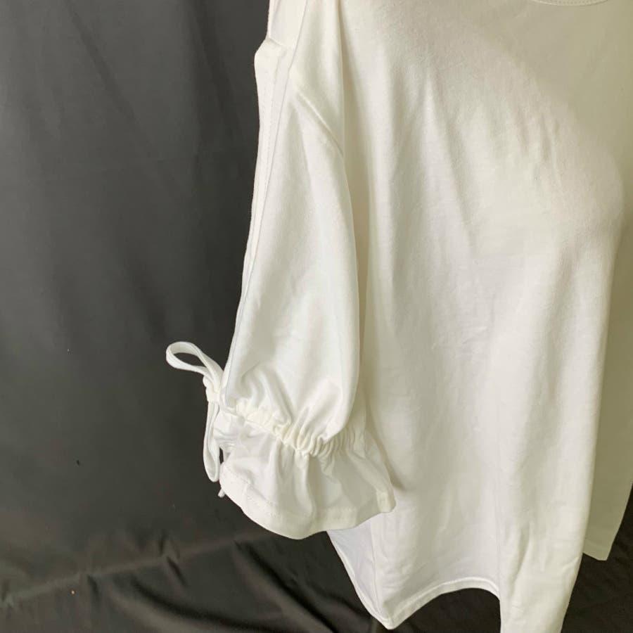 Tシャツ トップス カットソー 白シャツ デザイン袖 半袖 五分袖 レディース ゆったり 大きいサイズ 2019春夏新作二の腕体型カバー 6