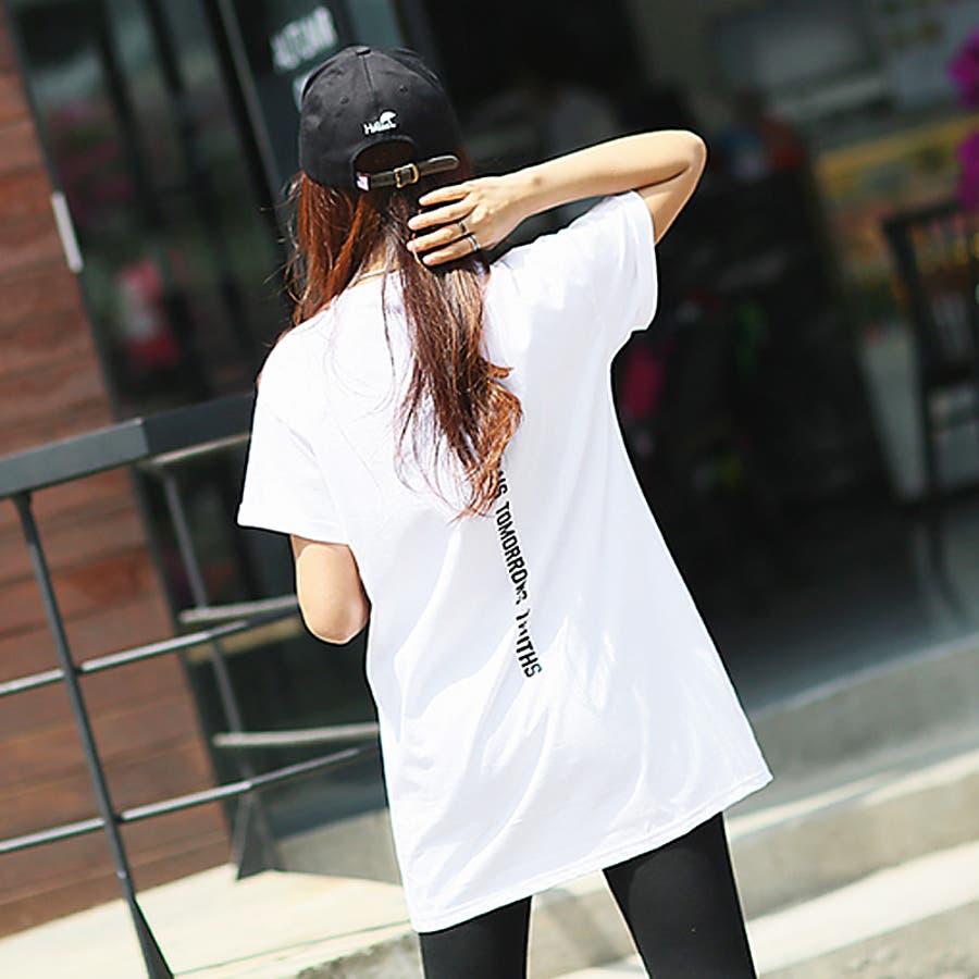 Tシャツ トップス ロゴT カットソー バックプリント レディース 半袖 ゆったり 大きいサイズ 2020 春夏新作 体型カバー 3