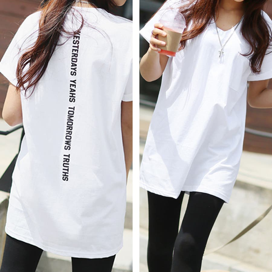Tシャツ トップス ロゴT カットソー バックプリント レディース 半袖 ゆったり 大きいサイズ 2020 春夏新作 体型カバー 6