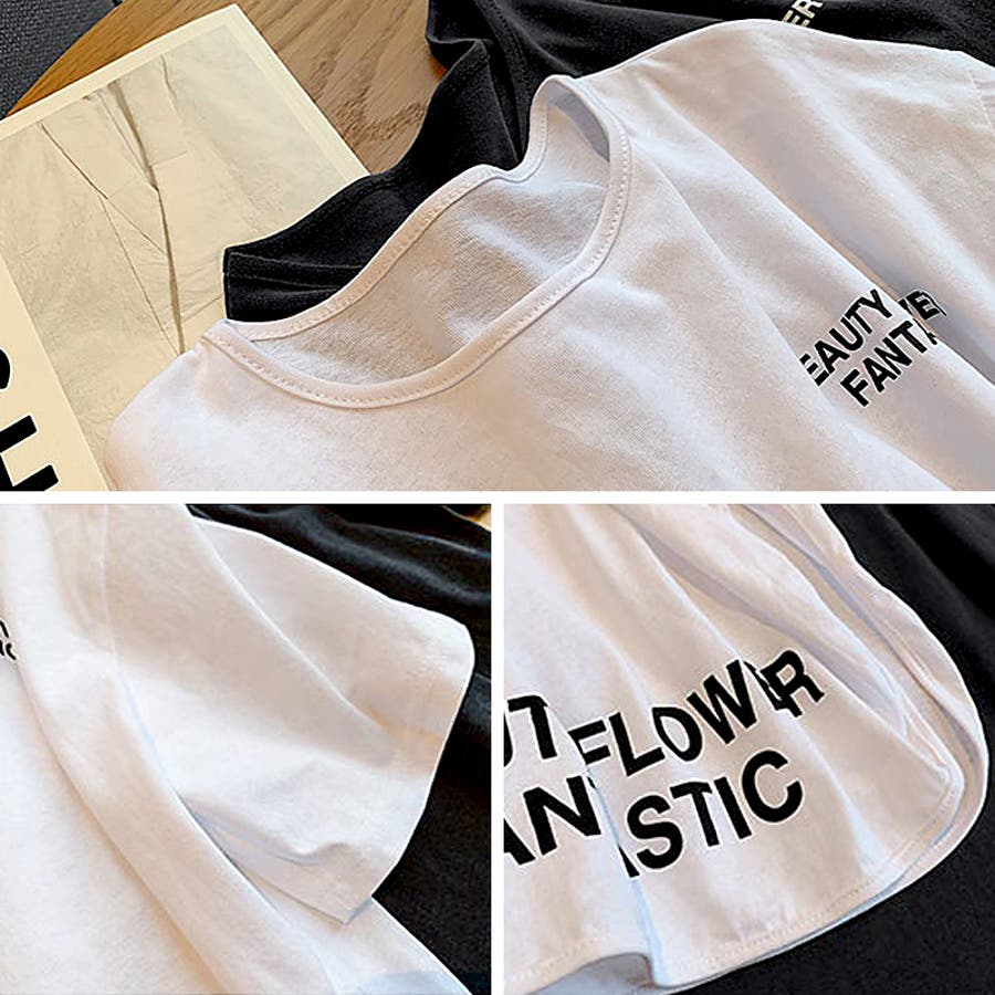 Tシャツ トップス ロゴT カットソー スリット プリント レディース 半袖 ゆったり 大きいサイズ 2019 夏新作 体型カバー 6