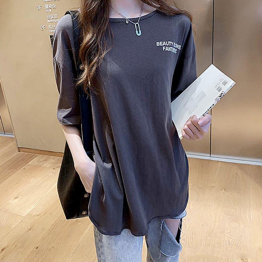 Tシャツ トップス ロゴT カットソー スリット プリント レディース 半袖 ゆったり 大きいサイズ 2019 夏新作 体型カバー 7