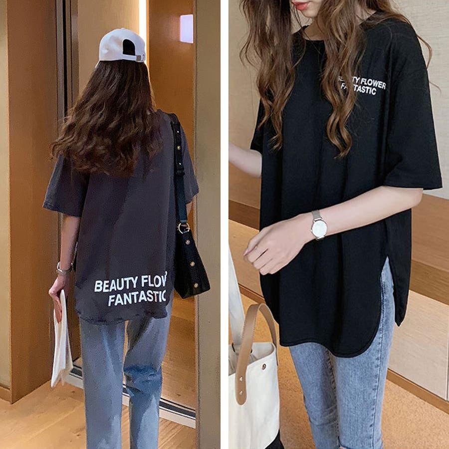 Tシャツ トップス ロゴT カットソー スリット プリント レディース 半袖 ゆったり 大きいサイズ 2019 夏新作 体型カバー 8