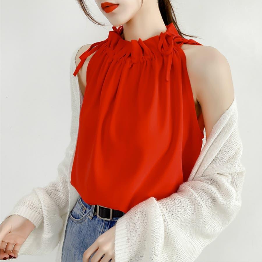 オフショルトップス ブラウス シャツ ノースリーブ レディース 半袖 大きいサイズ 体型カバー きれいめ 上品 2020春夏新作 8