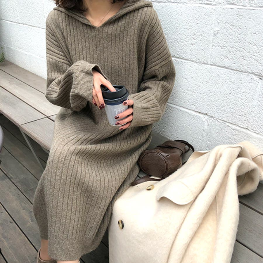 フード付き ニット セーター 7