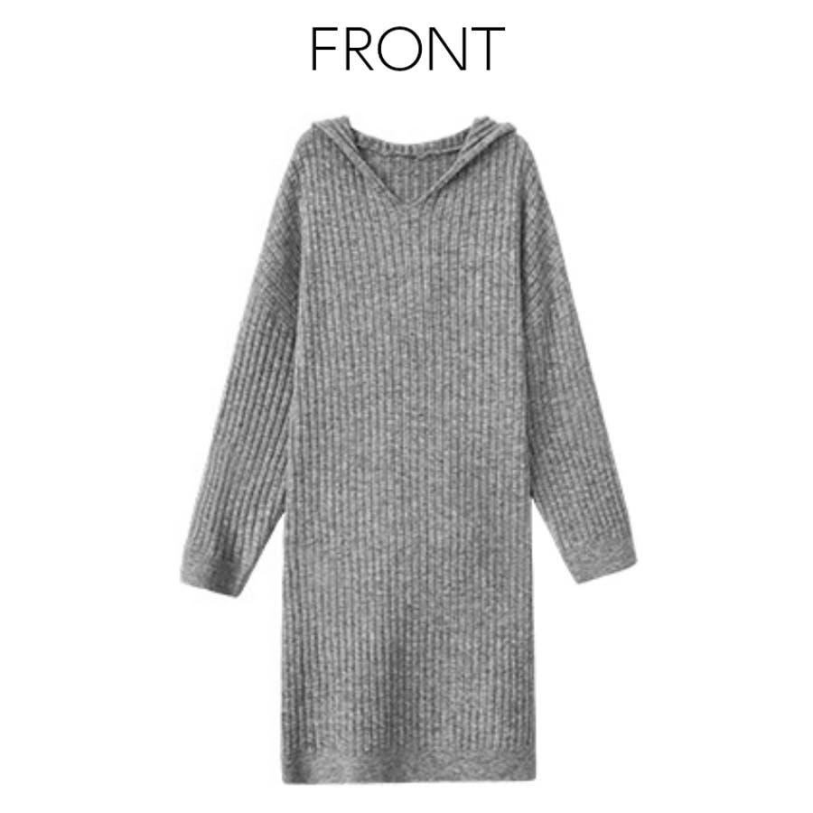 フード付き ニット セーター 8