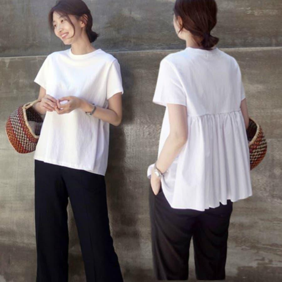 Tシャツ トップス レディース 半袖 ゆったり 大きいサイズ 2020春夏新作 シャレ バックプリーツ切替 体型カバー シンプル 2