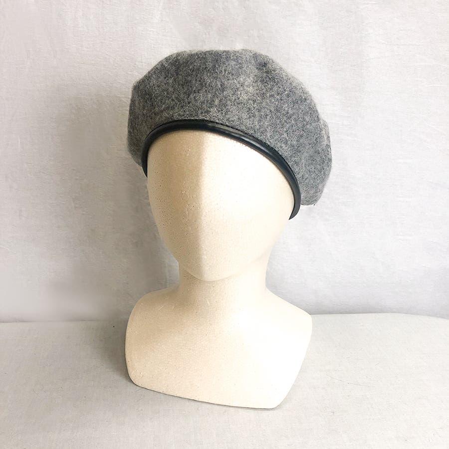 フチ合皮ベレー帽子 レディース 帽子 3