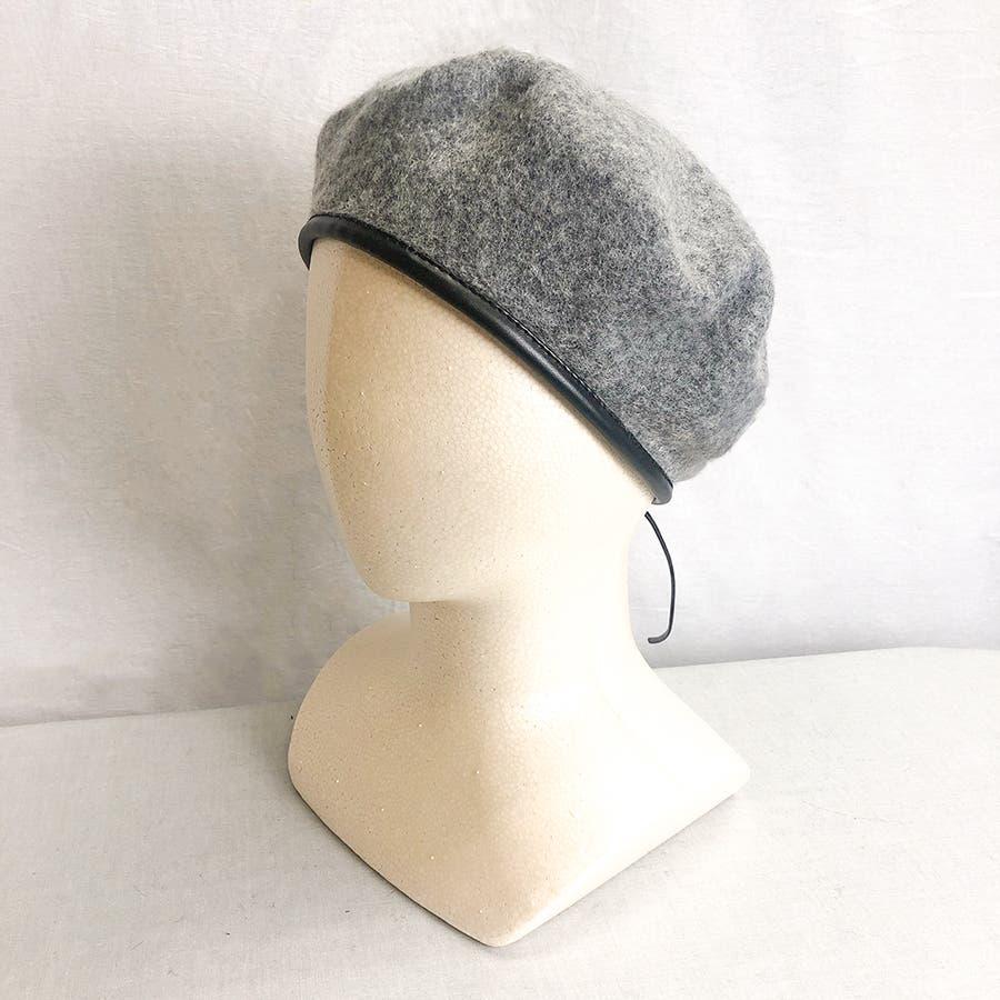 フチ合皮ベレー帽子 レディース 帽子 23