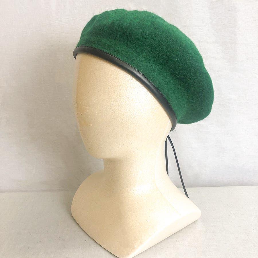 フチ合皮ベレー帽子 レディース 帽子 47