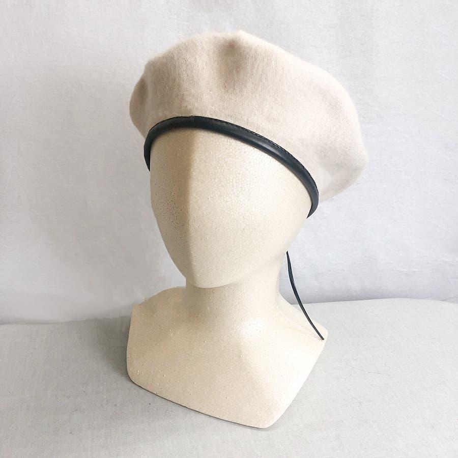 フチ合皮ベレー帽子 レディース 帽子 18