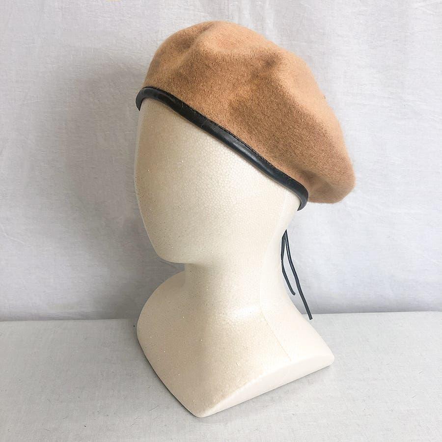 フチ合皮ベレー帽子 レディース 帽子 41