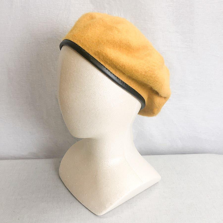 フチ合皮ベレー帽子 レディース 帽子 85
