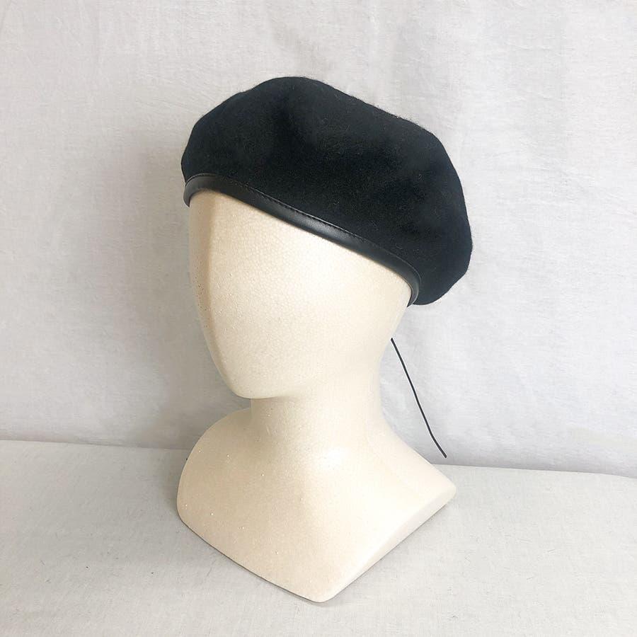 フチ合皮ベレー帽子 レディース 帽子 21