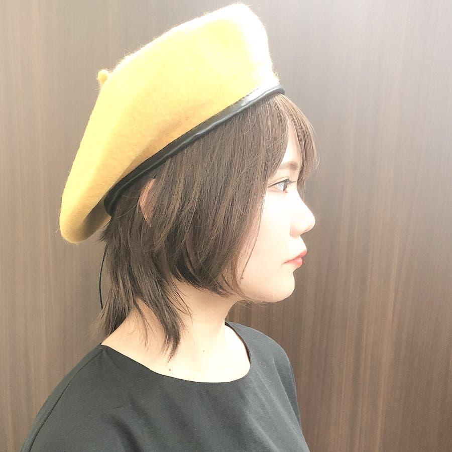 フチ合皮ベレー帽子 レディース 帽子 10