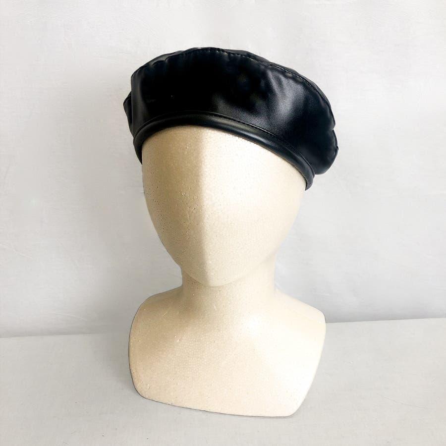 合皮ベレー帽 レディース 帽子 2