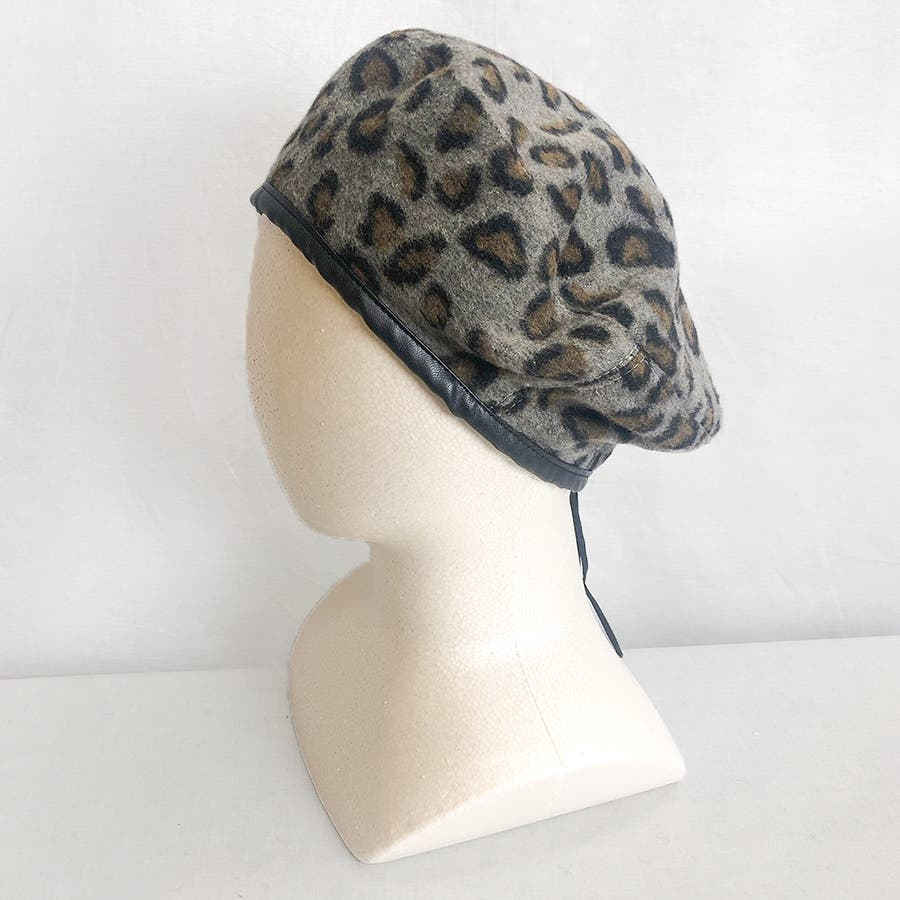ヒョウ柄ベレー帽 23
