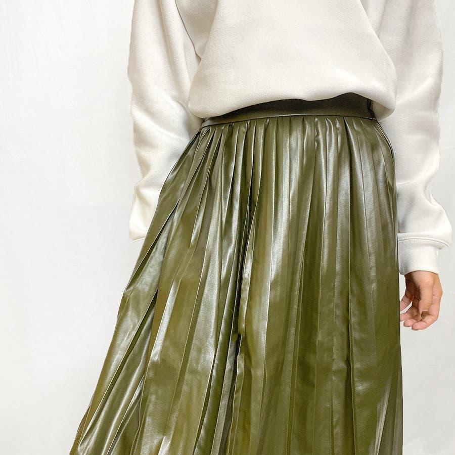 エコレザー プリーツスカート スカート 2