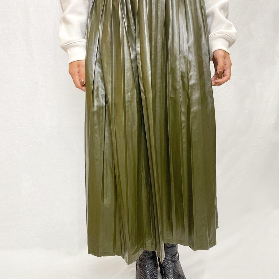 エコレザー プリーツスカート スカート 3