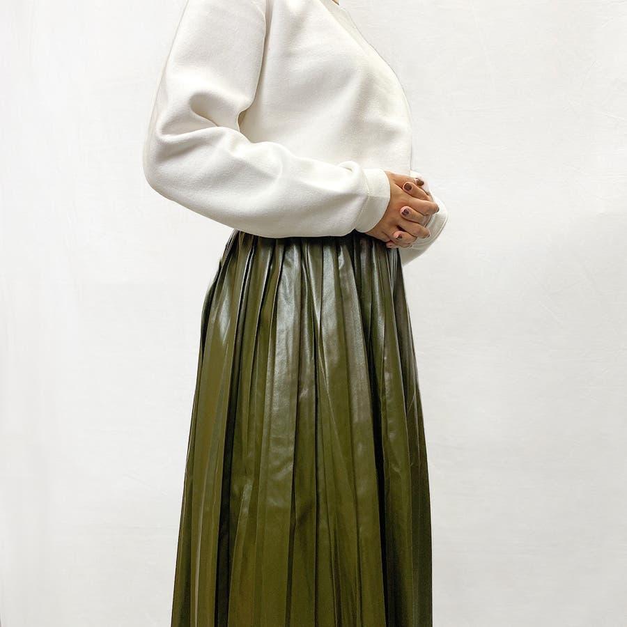 エコレザー プリーツスカート スカート 4