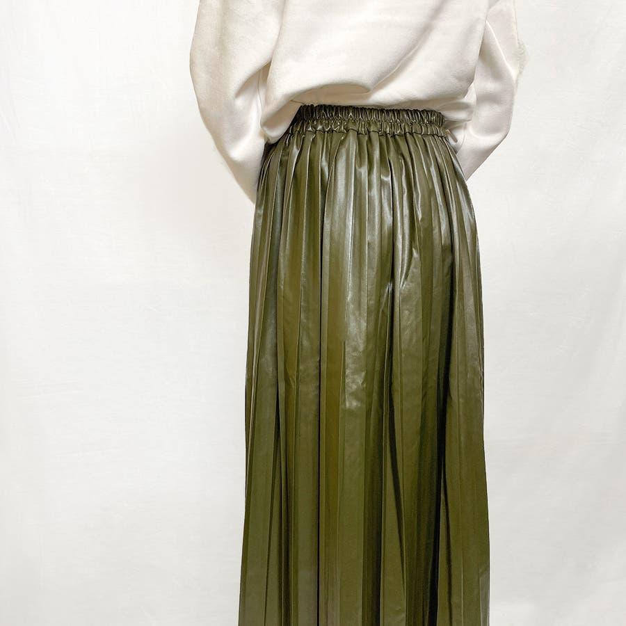 エコレザー プリーツスカート スカート 5