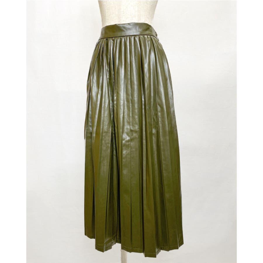 エコレザー プリーツスカート スカート 53