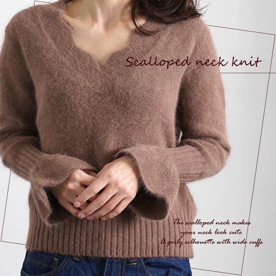 スカラップネックニット ニット セーター 1