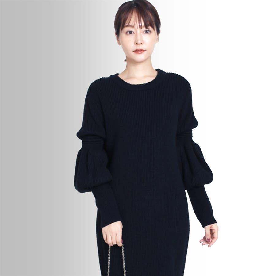 【MARTHA】ひょうたん袖ニットワンピース[16679] 1