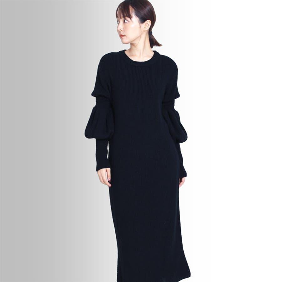 【MARTHA】ひょうたん袖ニットワンピース[16679] 2
