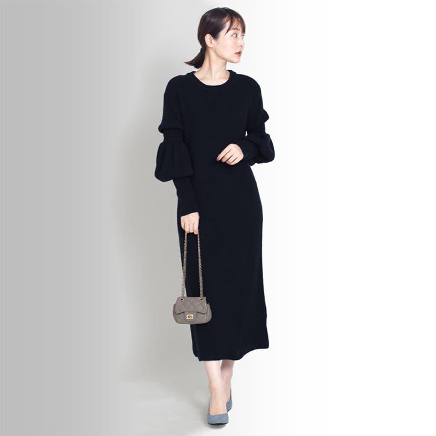 【MARTHA】ひょうたん袖ニットワンピース[16679] 3