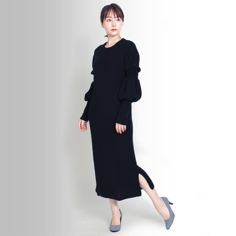 【MARTHA】ひょうたん袖ニットワンピース[16679] 4