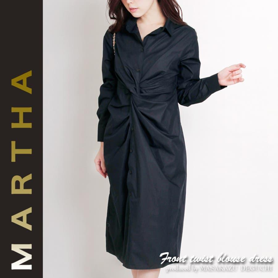 3a2e794e7d624 MARTHA マーサ☆フロントツイストブラウスワンピース 16406  品番 ...